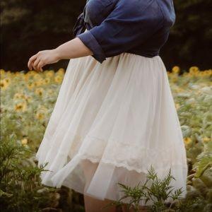 Off White Tulle Skirt
